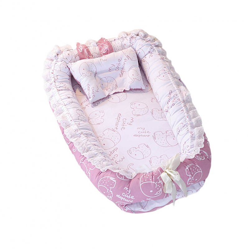Baby Detachable Mattress Baby Nest Newborn Babynest Sleep Bed pink Baby Elephant _90*55*15cm
