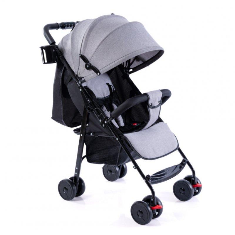 Baby Folding Stroller Full Canopy Sunshade Linen Laid Down Portable Baby Umbrella Cart Linen Gray
