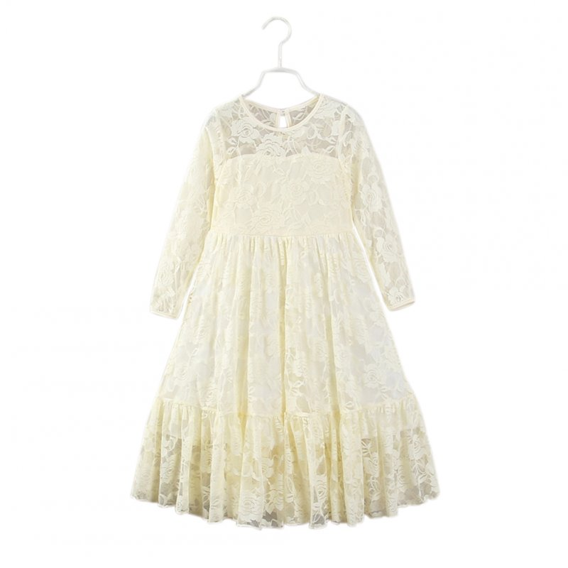 Baby Girl Cute Round Neck Lace Princess Dress Long Sleeve Long-style Bowknot Skirt