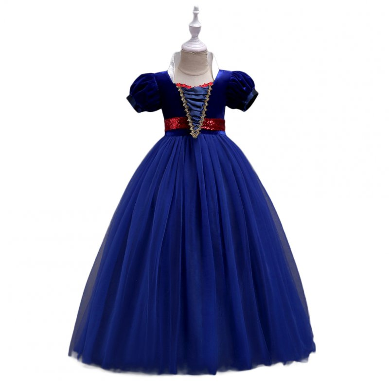 Baby Girl Stylish Tutu Princess Dress Lovely Bowknot Decoration Dress for Halloween  dark blue_130cm