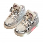 Baby Girls Casual Anti slip LED Sole with Luminous Lace Breathable Soft Fashion Shoes Silver 23