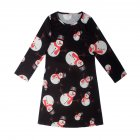 Baby Girls Crew Neck Long Sleeve Christmas Multiple Patterns Painting Skirt Princess Dress for Winter Autumn