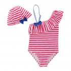 Baby Girls Stylish Stripe Ruffle Bowknot Swimsuit Jumpsuit + Swim Cap