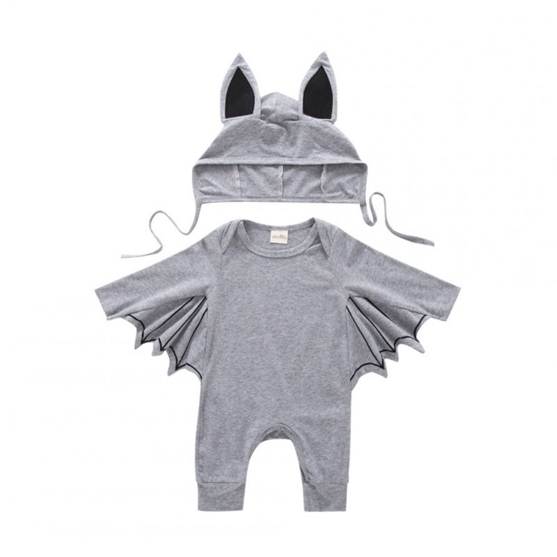Baby Infant Bat Shape Cartoon Romper + Cap Set Halloween Costume gray_80cm