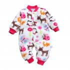 Baby Infants Girls Boys Cartoon Printing Flannel Romper Homewear Animal park 66cm  6M recommended height 66cm  6M