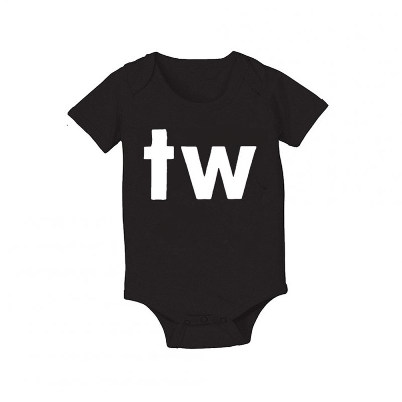 Baby Jumpsuit Cotton Alphabet  Printed Long-sleeve Romper for 0-18M Babies Black tw_XL