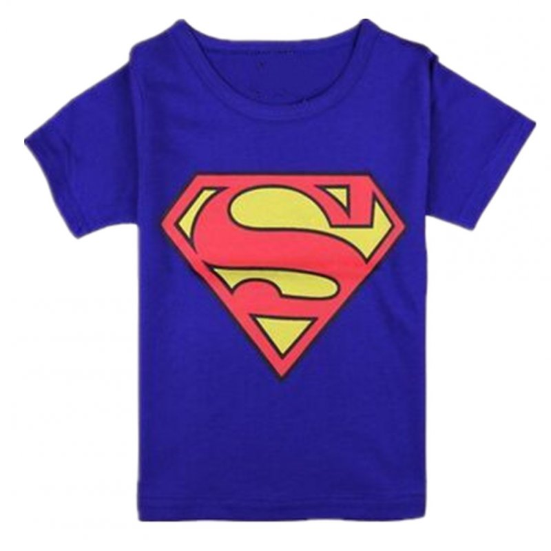 Baby Kid Cotton T-shirt Cartoon Superman Short Sleeve Crew Neck Tops for 2-8Y Boy Girl Navy blue_100cm