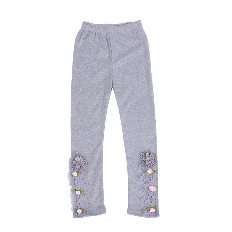Baby Leggings For 3-9 Years Old Soft Girl Pants Cotton Lace Embroidery Cotton Leggings gray_150cm