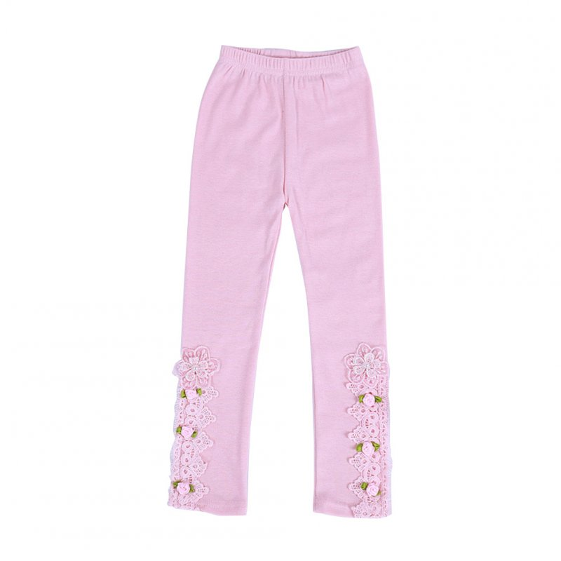 Baby Leggings For 3-9 Years Old Soft Girl Pants Cotton Lace Embroidery Cotton Leggings Pink_140cm