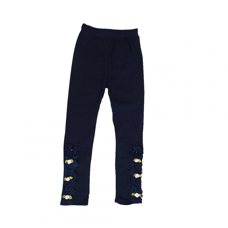 Baby Leggings For 3-9 Years Old Soft Girl Pants Cotton Lace Embroidery Cotton Leggings Dark blue_140cm