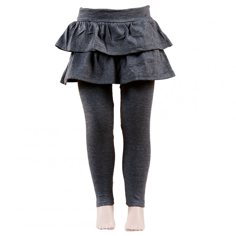 Baby Leggings Soft Girl Pants Leggings Pure Color Cotton Plain Ruffled Pantskirt gray_130cm