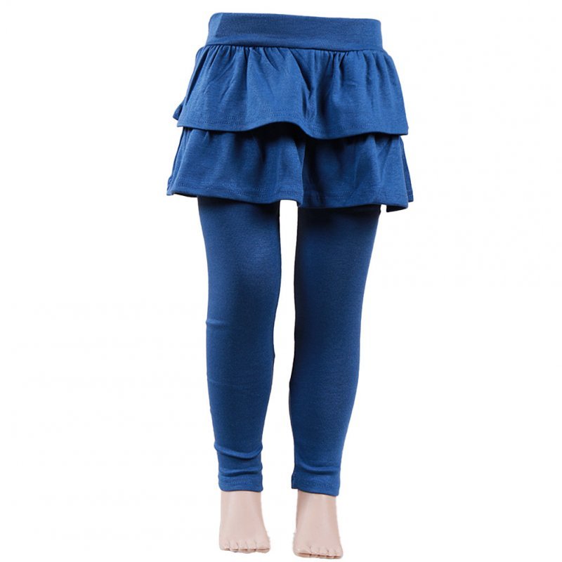 Baby Leggings Soft Girl Pants Leggings Pure Color Cotton Plain Ruffled Pantskirt Navy blue_110cm