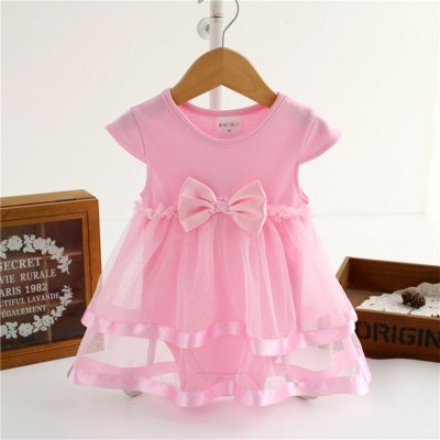 Baby Newborns Girl Clothing Rompers Dress Delicate Bowknot Dress Pink_24M