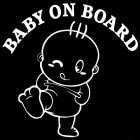 Baby On Board Cute Car Stickers Fashion Warning Decals White