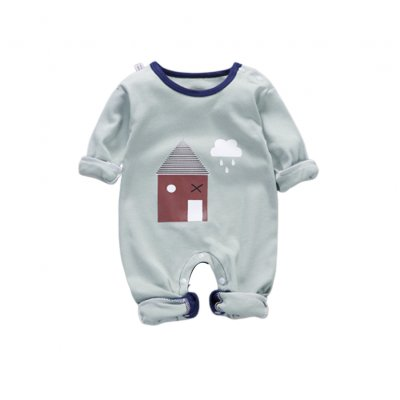 Baby Piece Jumpsuits Cotton Long Sleeve Tops for Daily Out Wearing Green House (Brussels Green House)_66