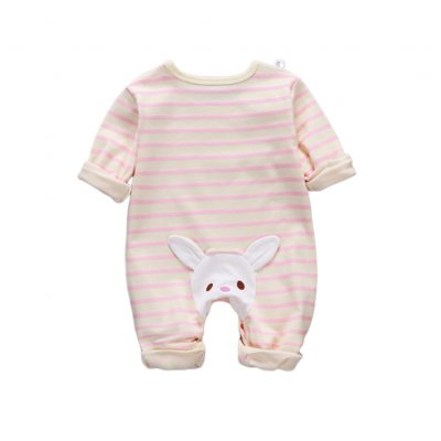 Baby Piece Jumpsuits Cotton Long Sleeve Tops for Daily Out Wearing Pink stripes ( Sakura Pink with bunny)_66