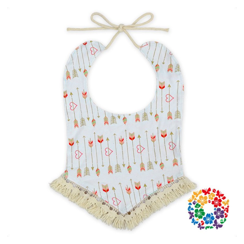 Baby Printed Waterproof Cotton Bib with Fringe Triangle Bibs Handkerchief for Infant & Toddlers