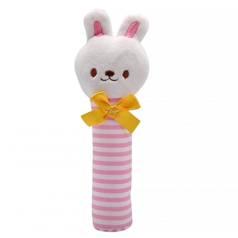 Baby Rattles BB Sticks Plush Doll Crib Bed Hanging Toy for Kids Newborn Pink striped bunny