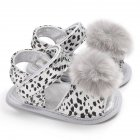 Baby Sandals Flat Shoes Soft Sole Leopard Plush Ball Magic Sticker for 0-1Y Toddler Infant White_12 cm