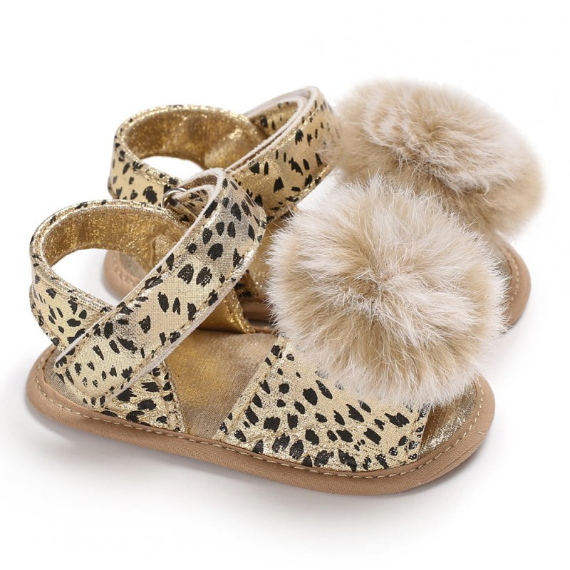 Baby Sandals Flat Shoes Soft Sole Leopard Plush Ball Magic Sticker for 0-1Y Toddler Infant Gold_12 cm