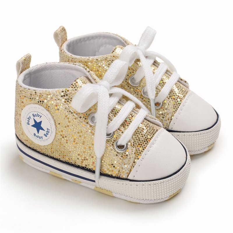 Baby Shoes Soft-soled with Sequin Toddler Shoes for 0-18m Babies Golden_Bottom length 13CM