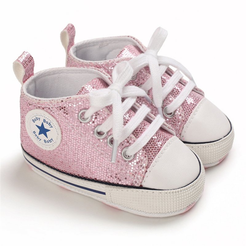 Baby Shoes Soft-soled with Sequin Toddler Shoes for 0-18m Babies Pink_Bottom length 13CM
