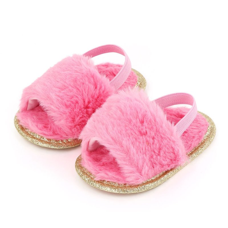 Baby Soft Shoes Soft-soled Glitter Cloth Bottom Toddler Shoes for 0-1 Year Old Baby rose Red_12cm