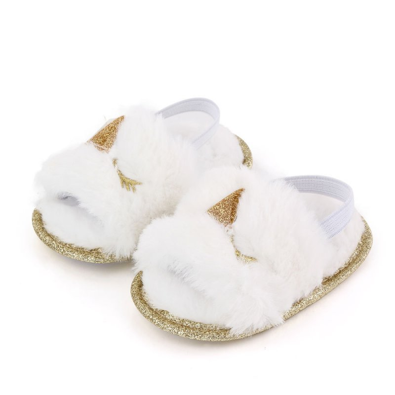 Baby Soft Shoes Soft-soled Glitter Cloth Bottom Toddler Shoes for 0-1 Year Old Baby White _13cm