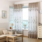Bamboo Printing Window Curtain Half Shading Tulle for Bedroom Living Room Balcony Decor As shown_1m wide * 2m high