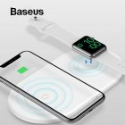 Original BASEUS 2 in 1 Wireless Charger Pad for Apple Watch 4/3/2/1 Fast Wireless Charging for iPhone 8 Xs Max Samsung S9 white
