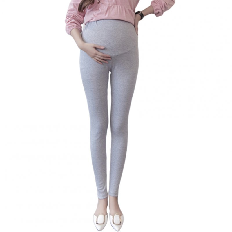 Basic Solid Color Abdomen Support Leggings Trousers for Pregnant Woman  light grey_L