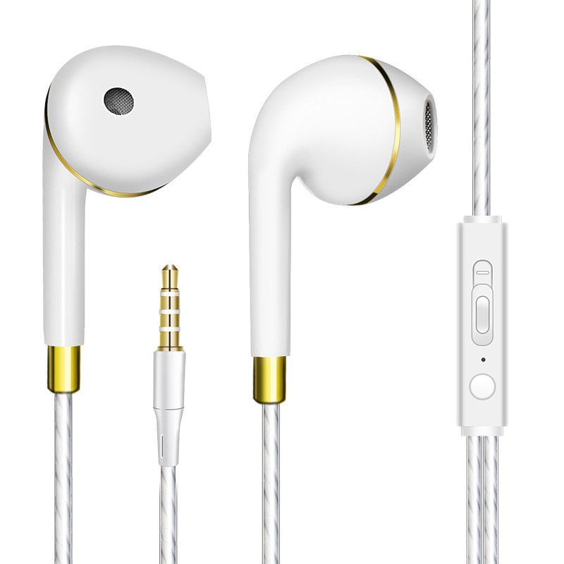 Bass Earphone with Microphone Wired for iphone Andriod Phone Golden