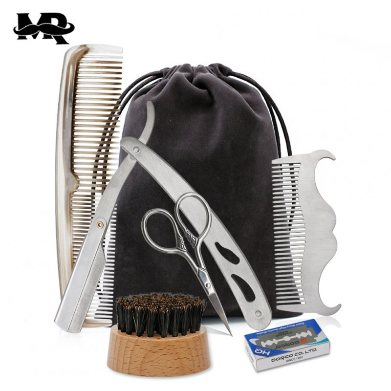 Beard Suit Beard Comb Stainless Steel Template Tool Beard Styling Comb Beard Care Cleaning Kit 6pcs/set_Normal specifications