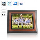 Beautiful 12 inch wooden digital photo frame that is a first class photo  music  and video media player  Comes with remote control