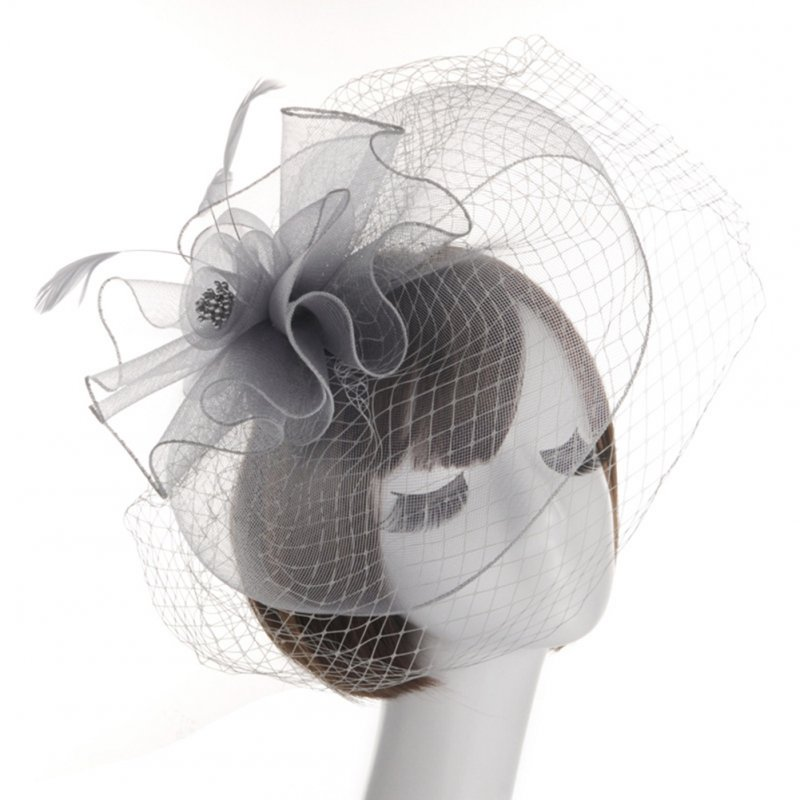 Beautiful Bride's Hat Bowler Elastic Net Feather Lady's Little Hat for Wedding Banquet