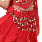 Belly Dance Indian Dance Body Chain Belt 128 coins Waist Chain for Stage Performance red One size