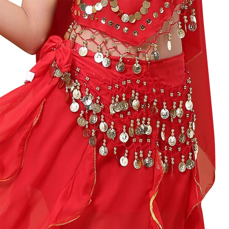 Belly Dance Indian Dance Body Chain Belt 128 coins Waist Chain for Stage Performance red_One size