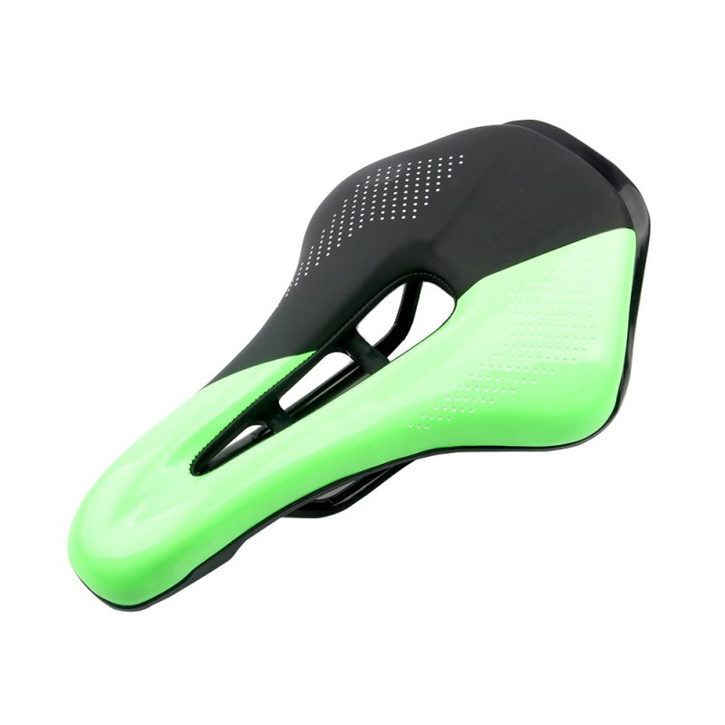 Bicycle Cushion Mountain Bike Road Bike Seat Hollow Breathable Comfortable Saddle  Black + green_24*14.8*4.5
