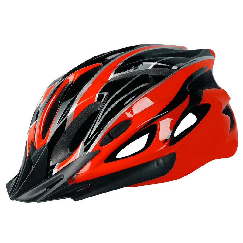Bicycle Cycling Helmet EPS+PC Cover Integrated-Mold Breathable Riding Helmet MTB Bike Safely Cap Riding Equipment Red black_Head circumference 52-60 adjusted