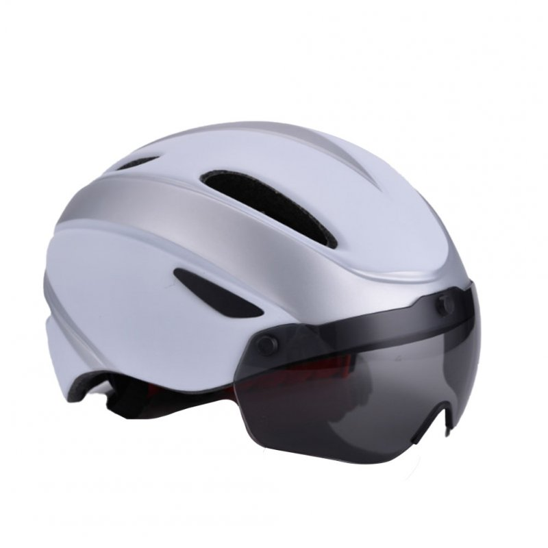 Bicycle Helmet EPS Integrally-molded Breathable Cycling Helmet Goggles Lens MTB Road Bike Helmet Silver white_One size