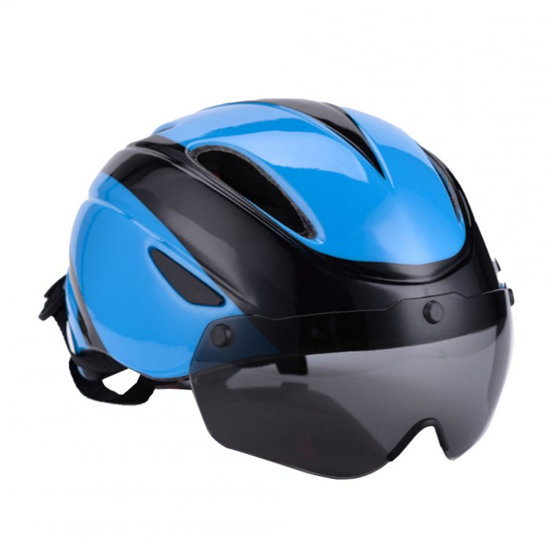 Bicycle Helmet EPS Integrally-molded Breathable Cycling Helmet Goggles Lens MTB Road Bike Helmet Blue black_One size