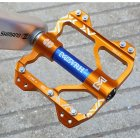 Bicycle Mountain Bike Aluminum Alloy Bearing Ankle Pedal Footing Lightweight CNC Pedal Gold blue_One size