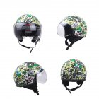 DOT Certification Helmet Leather Cover Scooter Vintage Helmet Green graffiti XL