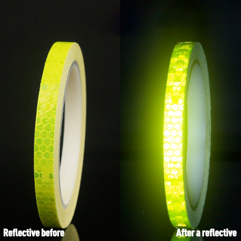 Bicycle Reflective Sticker Tape Noctilucent Waterproof Fluorescent Bike Decoration yellow_8 meters