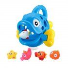Big Small Swallowing Fish Shape Bath Toys Set for Kids Baby Infants