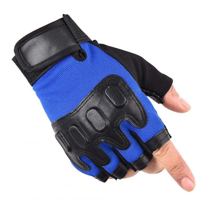 Bike Gloves Cycling Breathable Anti-slip Fingerless Gloves for Motorcycle Bicycle Mountain Riding Driving Sports Outdoors blue_One size