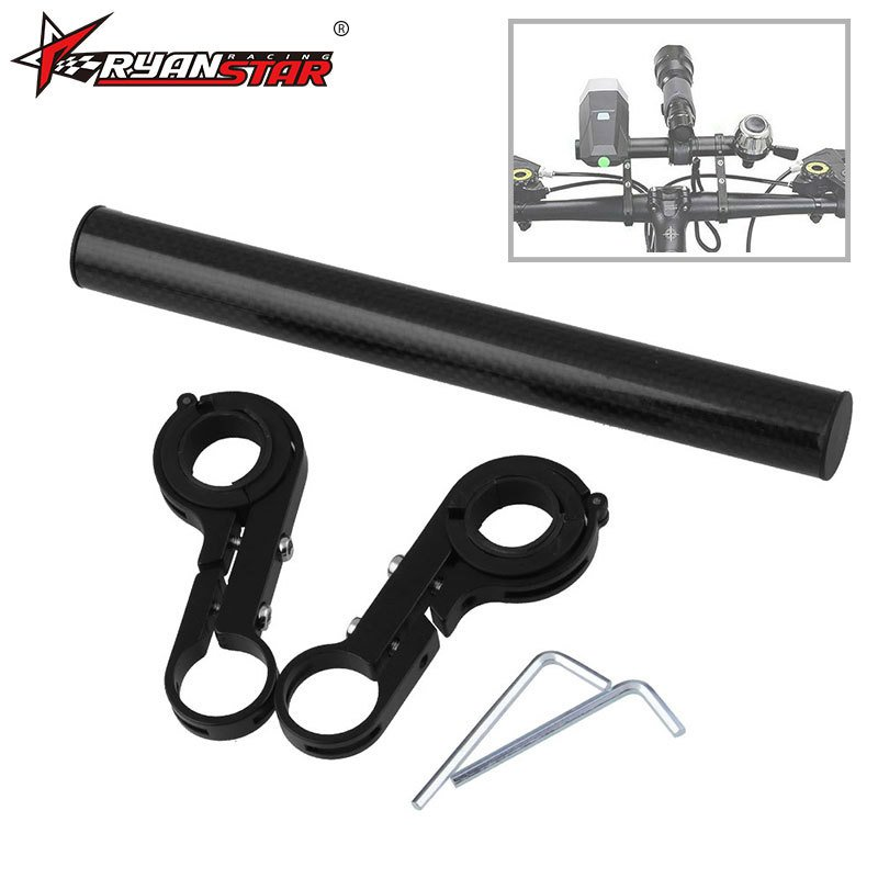 Bike Handlebar Extender Aluminum Alloy Bicycle Handlebar Extension Double Clamp Bike Bracket Bicycle Accessories Carbon color