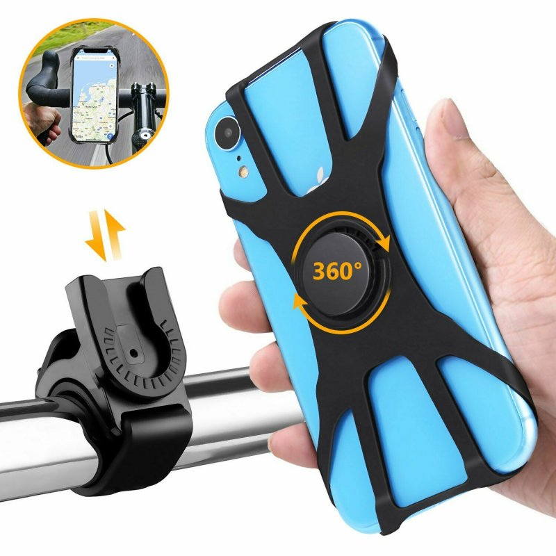 Bike Mobile Phone Bracket Cell Phone Silicone Mount Holder GPS Motorcycle Mtb Bike Bicycle 360 Rotation black