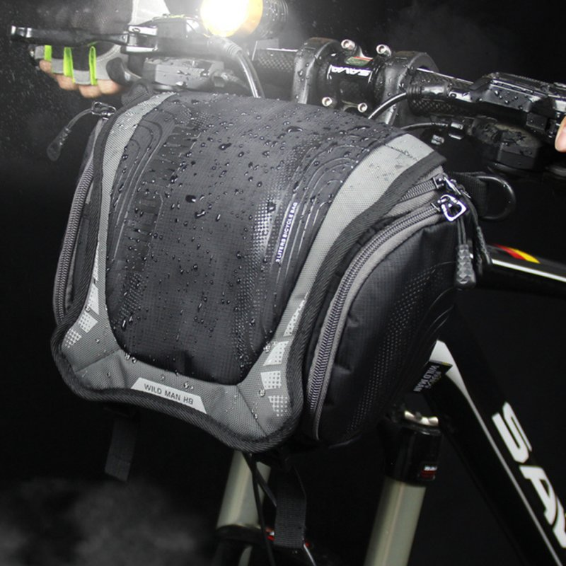 Bike Mountain Bike Waterproof Front Handle Bar DSLR Camera Bag gray_One size