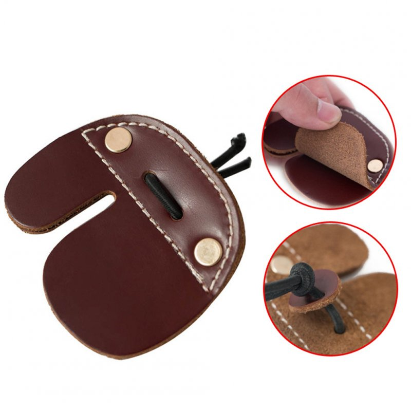 Bilayer Cow Leather Archery Finger Tab for Recurve Bows Hunting Finger Protector brown